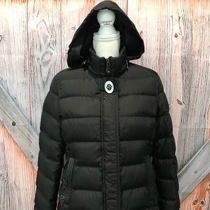 COACH Down Feather Puffer Jacket Tattersall Black